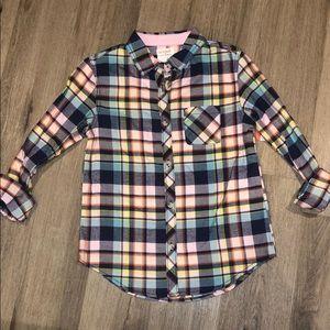 Cat & Jack flannel button down shirt girls NWT